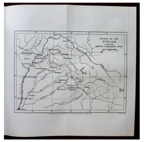 Details about 1885 Maclagan - RIVERS OF THE PUNJAB - British Dominion - MAP  - 11